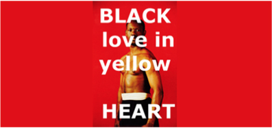 BLACK love in yellow HEART vignette